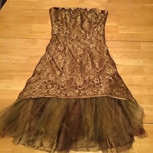 Zum zum by Niki Livas bronze lace dress with tulle
